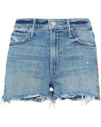 Mother - Woman Embroidered Distressed Denim Shorts Light Denim - Lyst