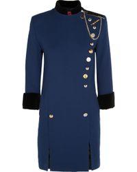 Ronald Van Der Kemp - Embellished Cotton Velvet-trimmed Wool-crepe Mini Dress - Lyst
