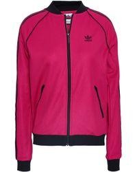 adidas Originals - Woman Striped Cotton-blend Jersey Track Jacket Fuchsia - Lyst