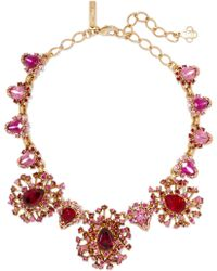 Oscar de la Renta - Gold-tone Crystal Necklace - Lyst