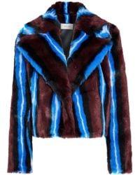 Diane von Furstenberg - Striped Faux Fur Coat Multicolor - Lyst