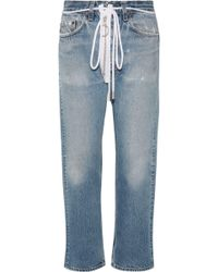 Off-White c/o Virgil Abloh - Distressed Cropped Boyfriend Jeans - Lyst