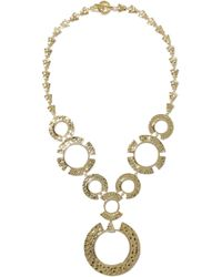 Noir Jewelry - Woman Hammered Gold-tone Necklace Gold - Lyst