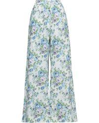 5beb44040b Zimmermann - Woman Floral-print Linen Wide-leg Trousers White - Lyst