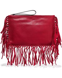 Valentino - Fringe-trimmed Textured-leather Clutch - Lyst
