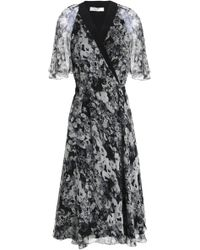 Lanvin - Woman Floral-print Silk-georgette Wrap Dress Gray - Lyst