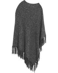 DKNY - Fringe-trimmed Sequin-embellished Knitted Poncho - Lyst