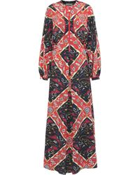 Opening Ceremony - Cutout Printed Silk Maxi Dress - Lyst