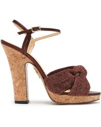 Charlotte Olympia - Farrah Knotted Suede Platform Sandals - Lyst