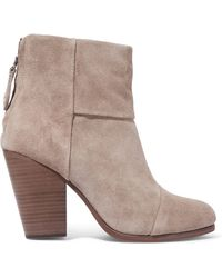 Rag & Bone - Woman Classic Newbury Suede Ankle Boots Stone Size 36 - Lyst