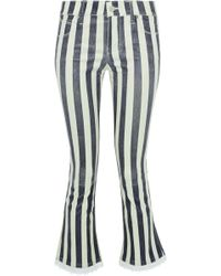 RTA - Kiki Denim-trimmed Striped Leather Kick-flare Pants - Lyst