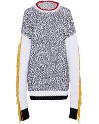JOSEPH - Oversized Fringed Felt-trimmed Intarsia Cotton-blend Sweater - Lyst