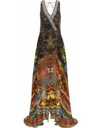 Camilla - Gathering Dusk Layered Embellished Printed Silk Playsuit - Lyst
