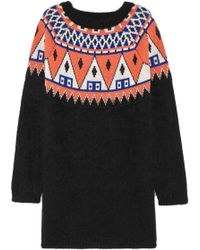 Aimo Richly - Fair Isle Angora And Wool-blend Sweater Dress - Lyst