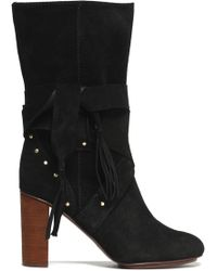 See By Chloé - Fringe-trimmed Studded Suede Boots - Lyst
