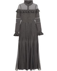Elie Saab - Woman Tulle-paneled Ruffled Metallic Ribbed-knit Gown Gray - Lyst