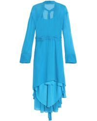 Cedric Charlier - Asymmetric Chiffon Dress - Lyst