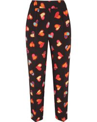 Boutique Moschino - Cropped Printed Silk Crepe De Chine Tapered Pants - Lyst