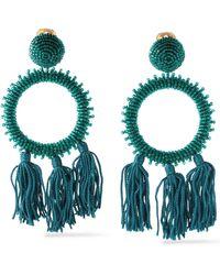 Oscar de la Renta - Gold-tone Bead And Tassel Clip Earrings - Lyst