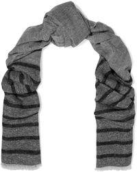 Brunello Cucinelli - Striped Metallic Knitted Scarf - Lyst