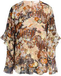 1d70774d713120 Chloé - Chloé Woman Metallic Fil Coupé Printed Silk Blouse Multicolour -  Lyst