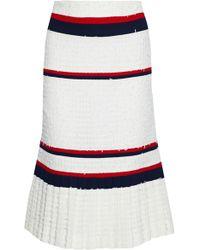 Thom Browne - Striped Crepe-paneled Frayed Pleated Tweed Skirt - Lyst