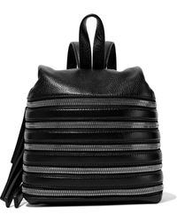Kara Small Zip-detailed Textured-leather Backpack Black