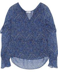 Joie - Ruffled Printed Silk-chiffon Blouse - Lyst