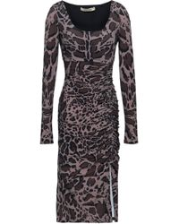 Roberto Cavalli - Woman Animal-print Ruched Stretch-jersey Dress Taupe - Lyst