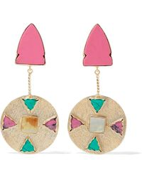 Kenneth Jay Lane - Gold-tone, Resin, And Stone Earrings - Lyst