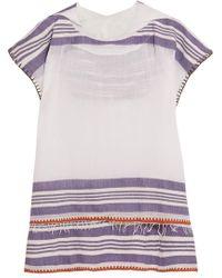 lemlem - Safara Fringed Striped Cotton-blend Gauze Hooded Poncho - Lyst