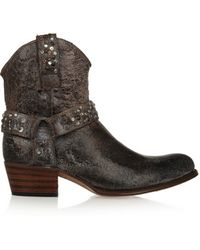 Frye - - Deborah Studded Distressed Leather Ankle Boots - Dark Grey - Lyst