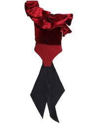 Johanna Ortiz - Lorca One-shoulder Ruffled Velvet And Stretch-jersey Bodysuit - Lyst