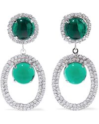 Kenneth Jay Lane - Woman Silver-tone, Stone And Crystal Clip Earrings Emerald - Lyst