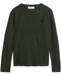 Bailey 44 - Woman Cinderella Distressed Wool-blend Sweater Army Green - Lyst