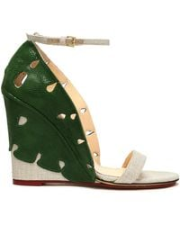 Charlotte Olympia - Cutout Snake-effect Leather And Canvas Wedge Sandals Forest Green - Lyst