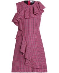 MSGM - Ruffle-trimmed Houndstooth Wool Dress - Lyst
