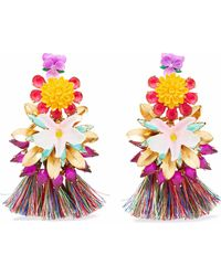 Elizabeth Cole - 24-karat Gold-plated, Stone, Acrylic And Tassel Earrings - Lyst