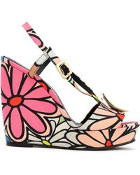 Roger Vivier - Woman Buckle-embellished Floral-print Canvas Wedge Sandals Pink - Lyst