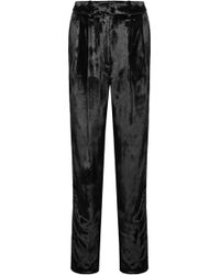 Adam Lippes - Pleated Panne-velvet Tapered Trousers - Lyst