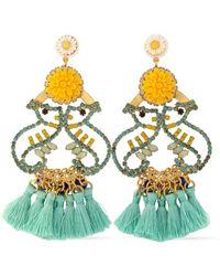 Elizabeth Cole - Tasseled Gold-tone, Crystal And Stone Earrrings - Lyst