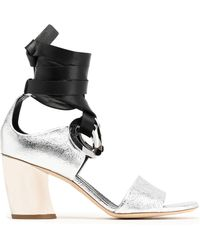 Proenza Schouler - Eyelet-embellished Leather And Suede Sandals - Lyst