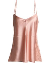 I.D Sarrieri - Lace-trimmed Silk-blend Satin Camisole - Lyst