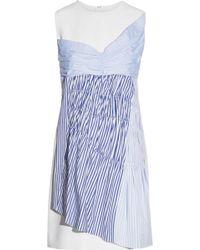 Victoria, Victoria Beckham - Paneled Ruched Cotton-twill Mini Dress - Lyst