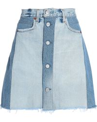 Levi's - Woman Two-tone Denim Mini Skirt Light Denim - Lyst