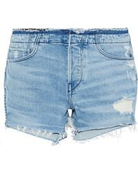 3x1 - Woman Stripped Shelter Distressed Denim Shorts Light Denim - Lyst