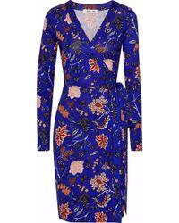 Diane von Furstenberg - Woman Julian Floral-print Silk-jersey Wrap Dress Royal Blue Size 4 - Lyst