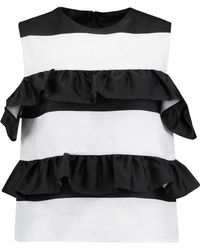 Goen.J | Ruffle-trimmed Cold-shoulder Striped Satin And Twill Top | Lyst