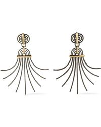 Lanvin - Elvira Hammered Burnished Gold-tone Clip Earrings - Lyst
