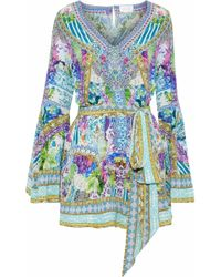 Camilla - Salvador Fields Forever Crystal-embellished Printed Silk Crepe De Chine Playsuit - Lyst